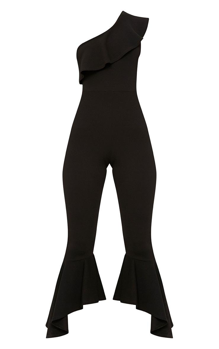 Black One Shoulder Frill Detail Flared Ankle Jumpsuit 3