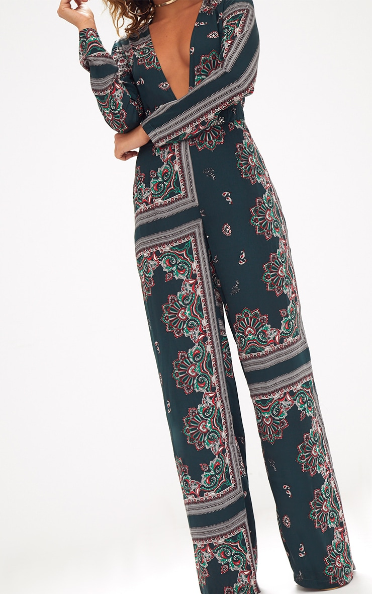 Forest Green Scarf Print Long Sleeve Plunge Jumpsuit 5