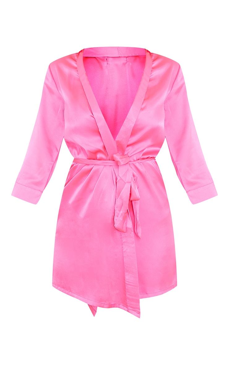 Hot Pink Plain Satin Robe 5