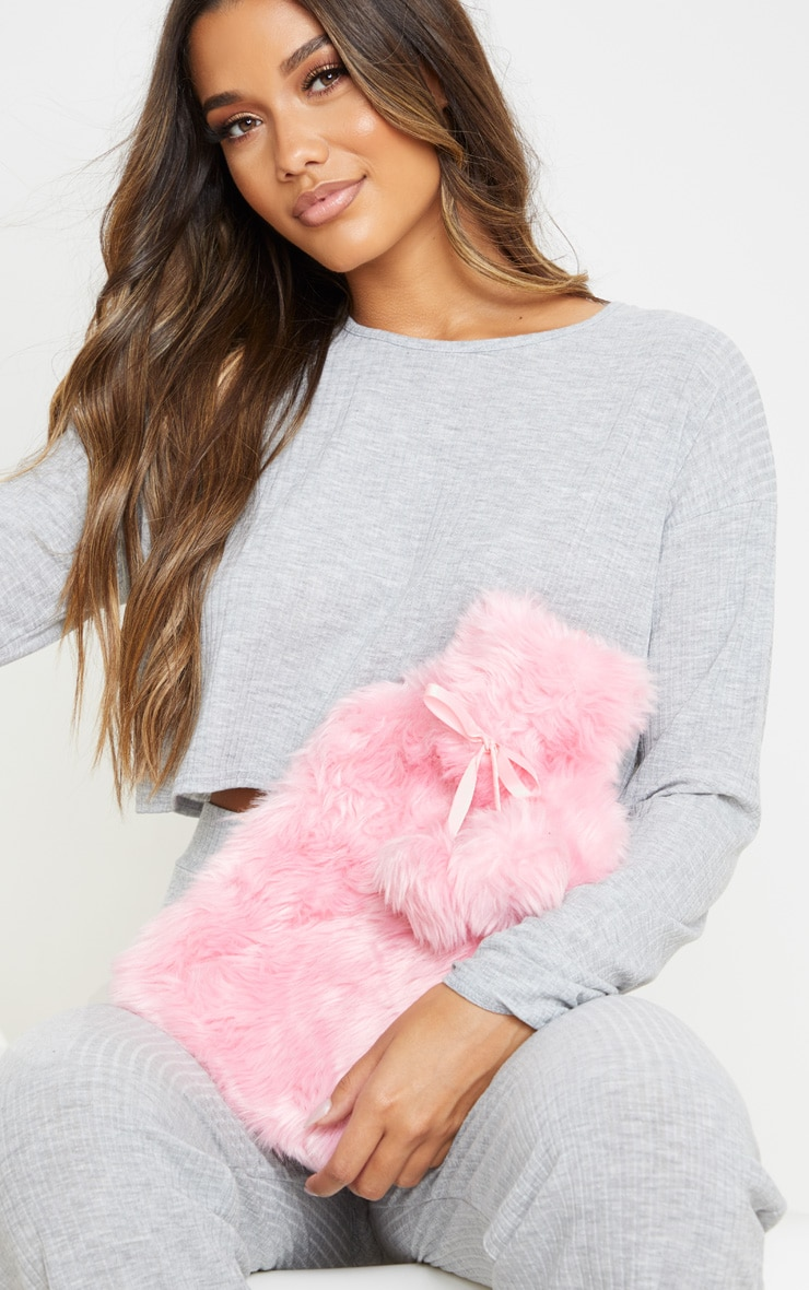 Pink Faux Fur Hot Water Bottle 1
