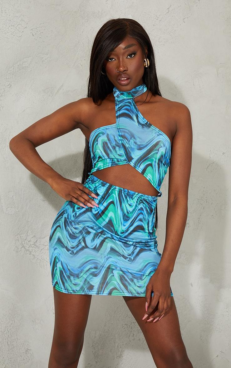 Blue Marble Print Slinky Halterneck Cut Out Bodycon Dress 1