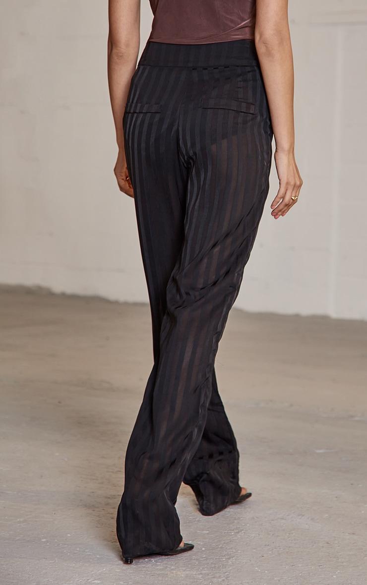 Black Woven Sheer Pintuck Straight Leg Trousers 3