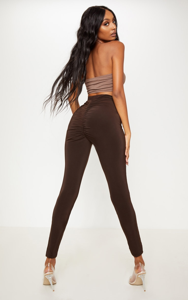 Chocolate Ruched Bum Detail Legging