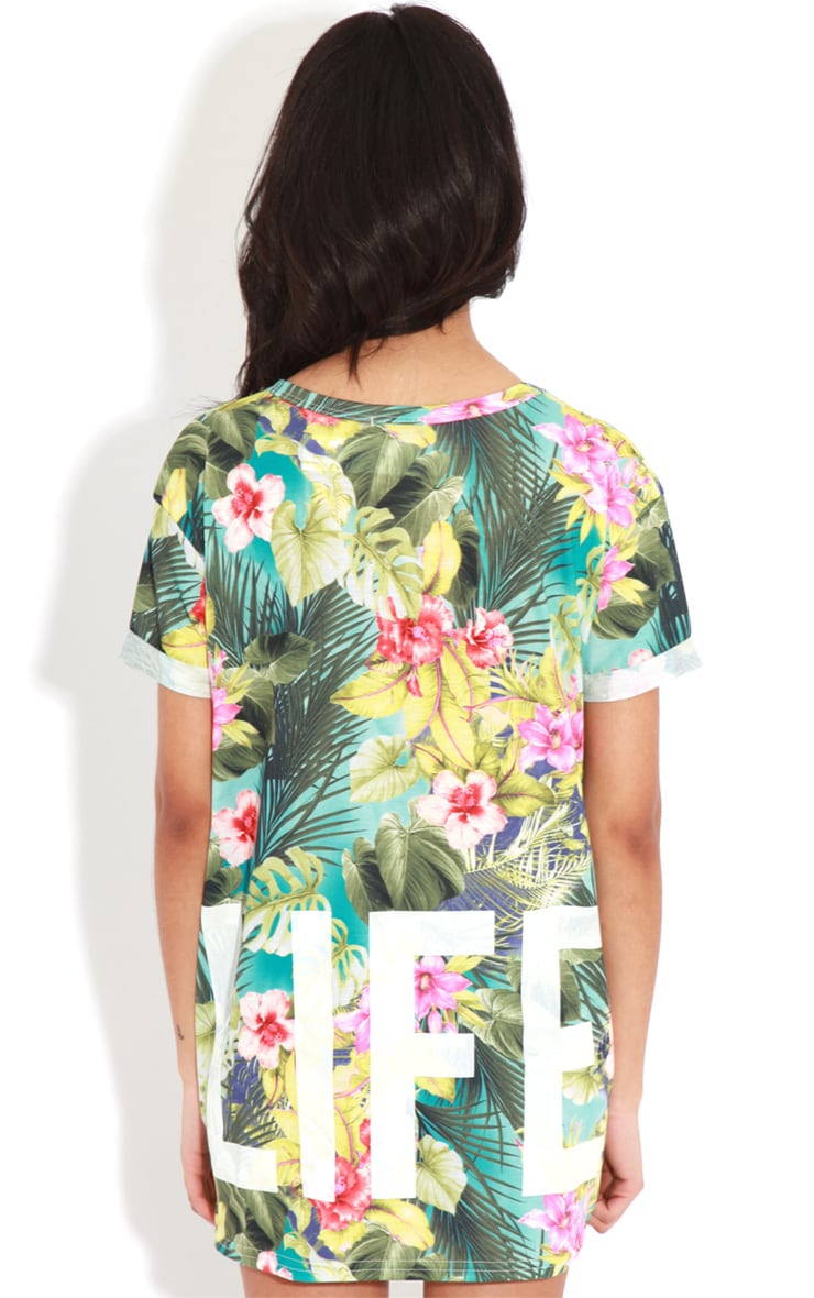 Makayla Turquoise Floral Love Life Sports Tee 2