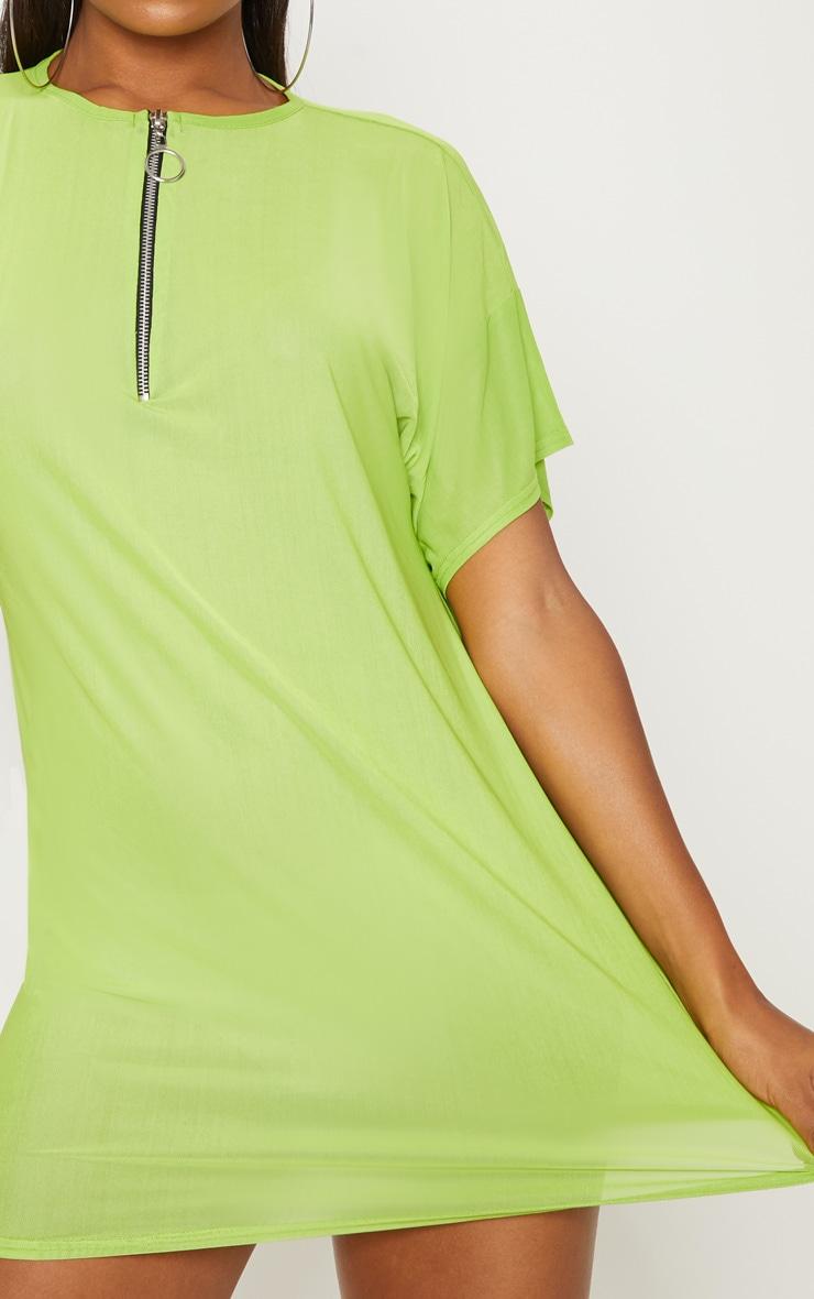 Lime Mesh Zip Front T Shirt Dress 5