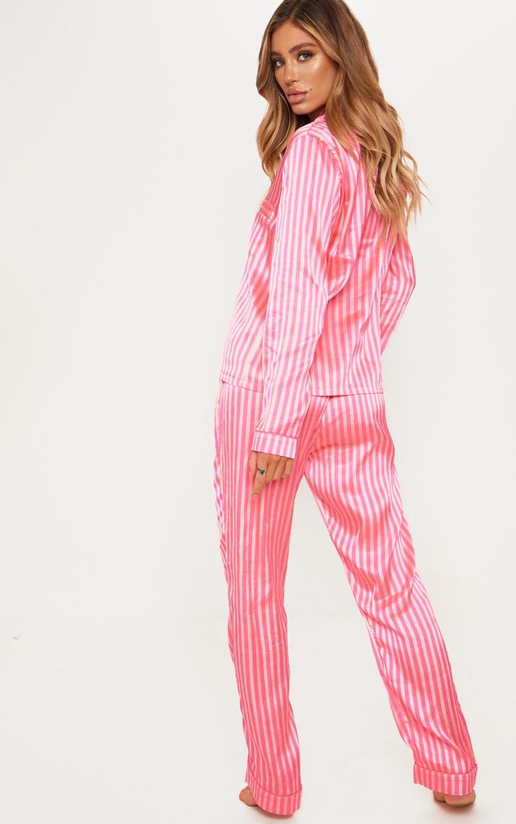 Pink Long Striped Satin Pyjama Set 2