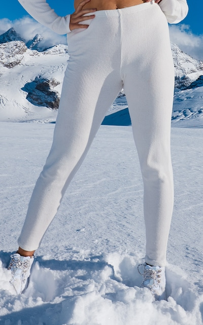 Plus Cream Brushed Rib High Waist Legging