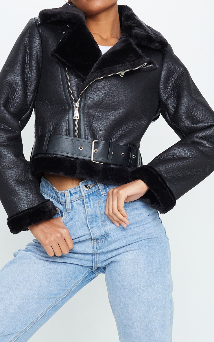 Black PU Cropped Belted Aviator 4