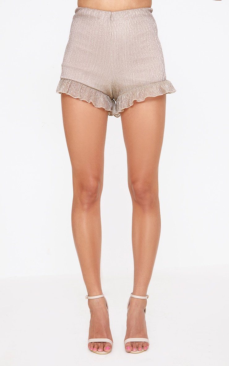 Gold Metallic Pleated Frill Hem Shorts 2