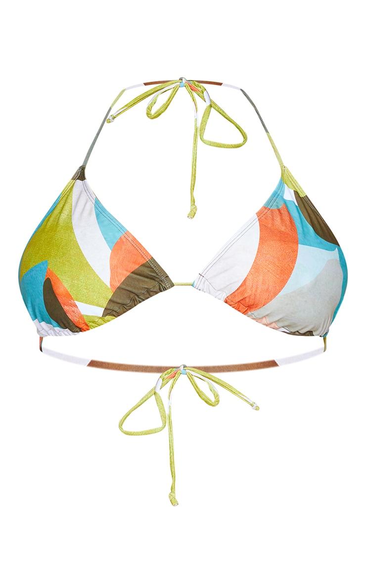 Plus Multi Abstract Printed Triangle Bikini Top 5