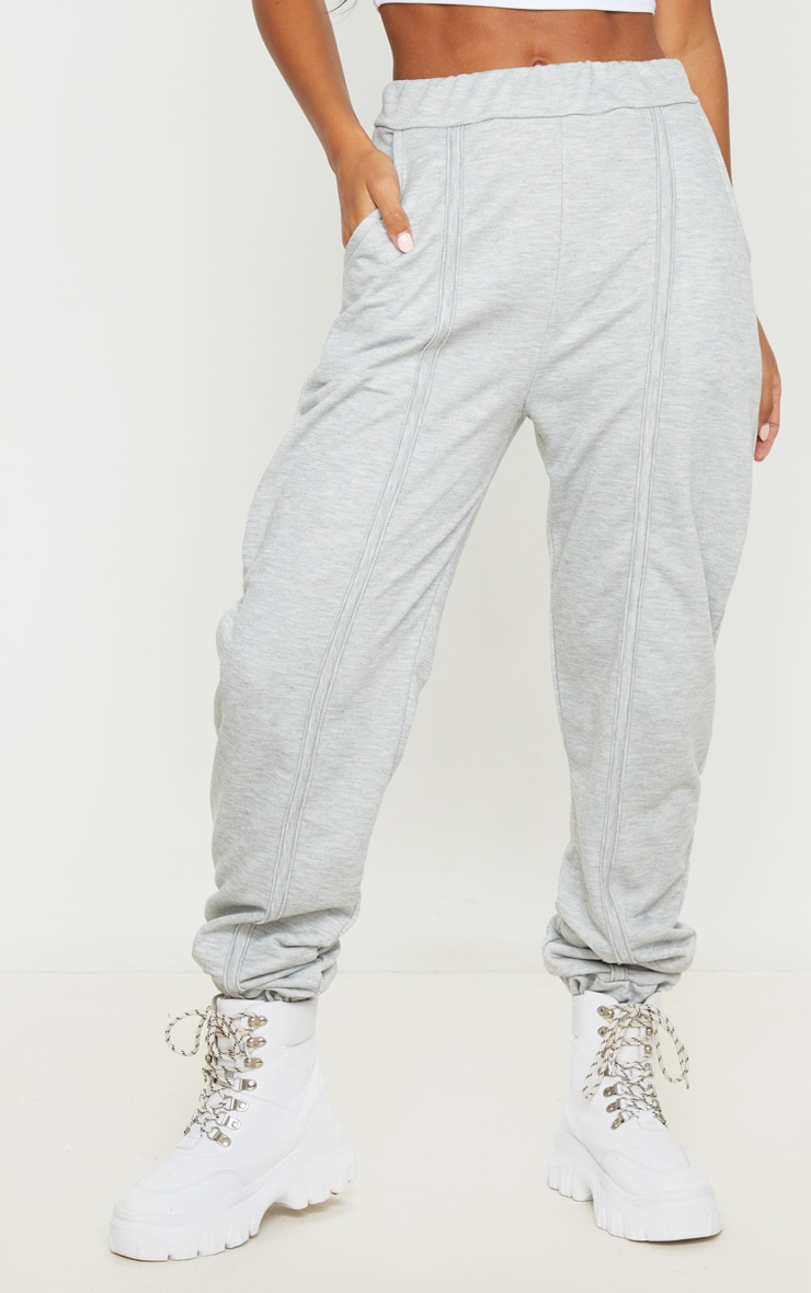 Grey Seam Detail Joggers 3