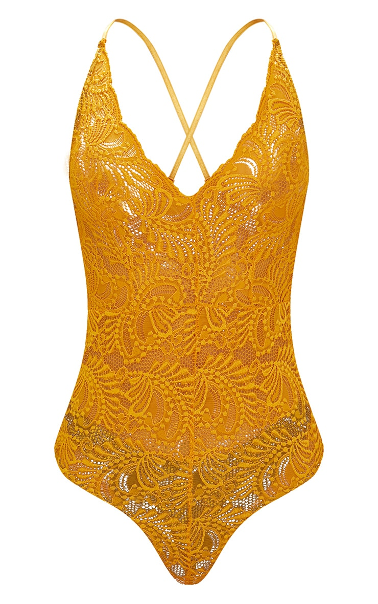 Mustard Sheer Lace Cross Back Bodysuit  2