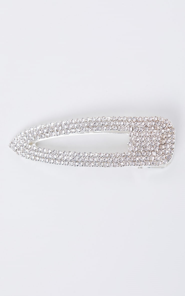 Silver Diamante Oversized Hair Clip 2