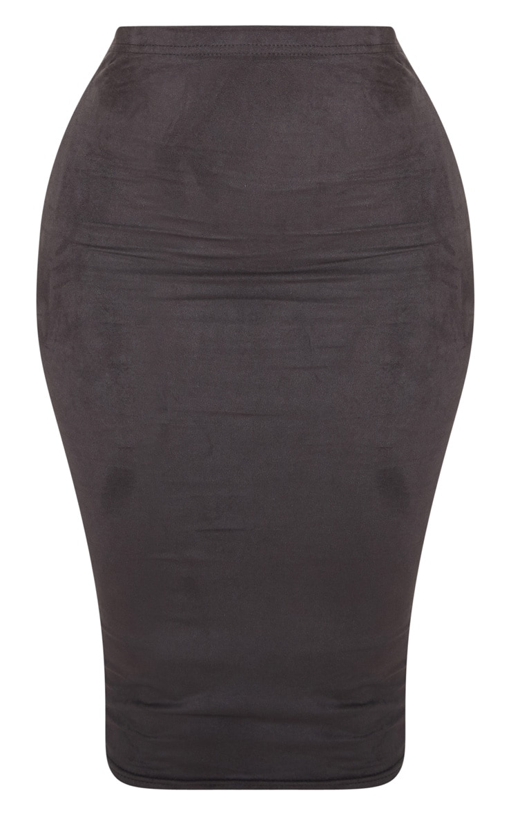 Shape Black Faux Suede Midi Skirt 3