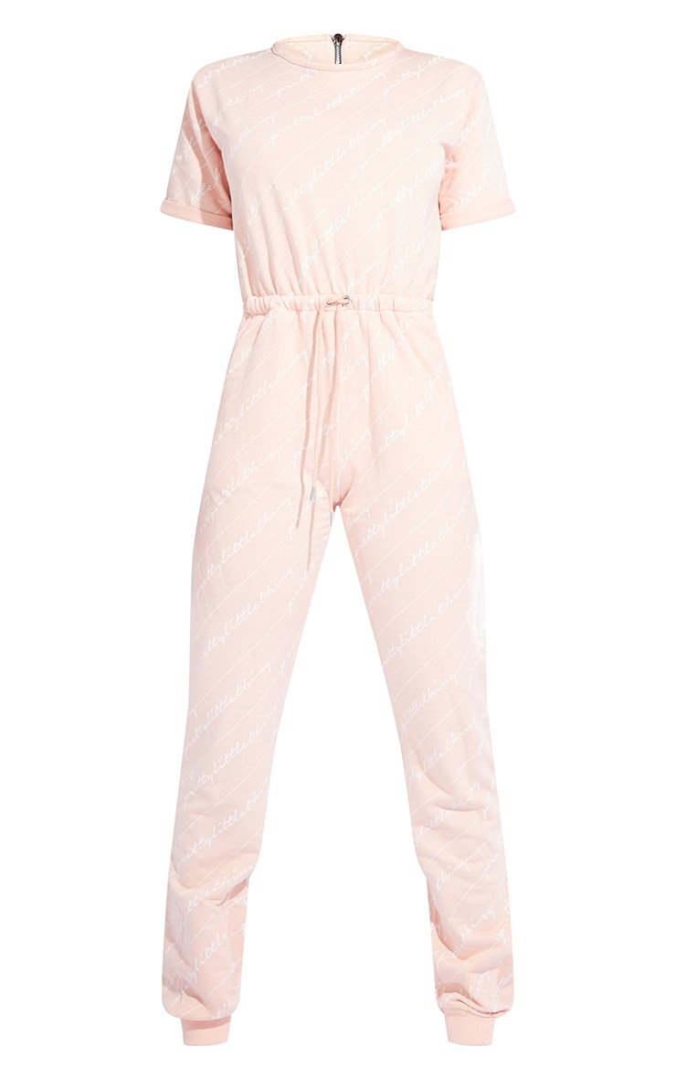 PRETTYLITTLETHING Tall Pink Short Sleeve Sweat Jumpsuit 5