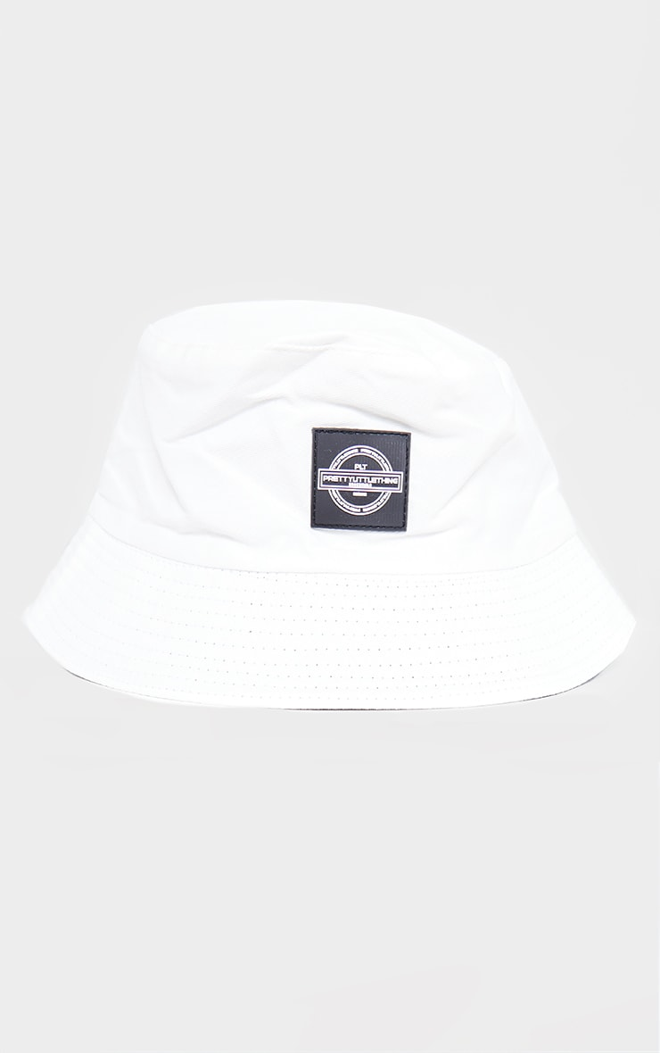 PRETTYLITTLETHING White Branded Bucket Hat 2
