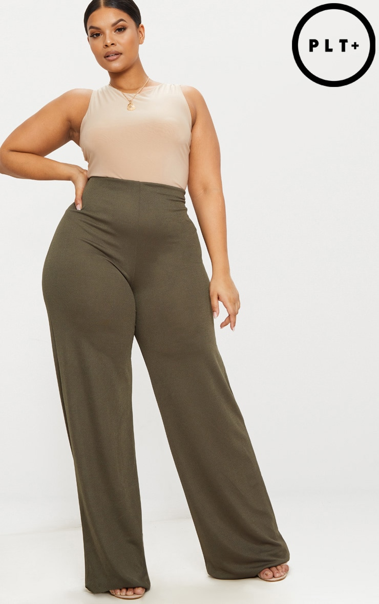 Plus Khaki High Waisted Wide Leg Trousers 1
