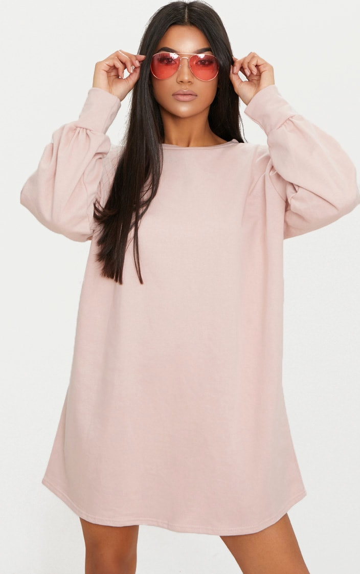 Sianna Nude Oversized Sweater Dress