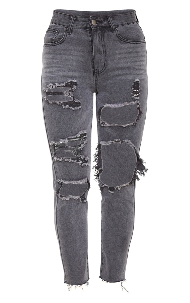 Washed Black Extreme Distressed Mom Jeans 3