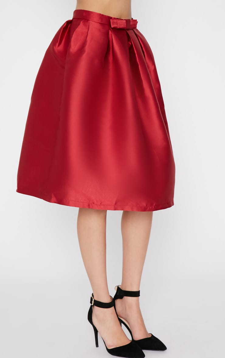 Maggy Red Satin A Line Midi Skirt  5