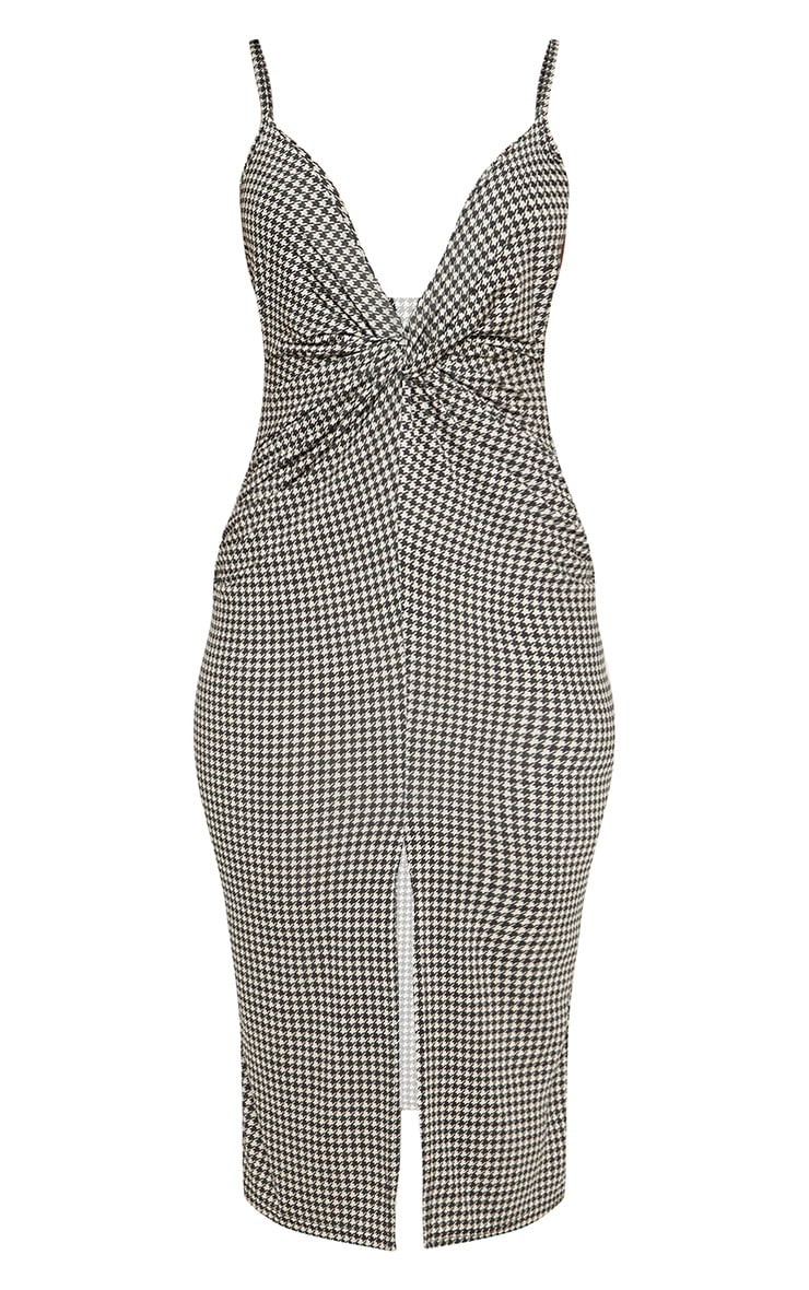 Tan Dogtooth Plunge Split Front Midi Dress 3