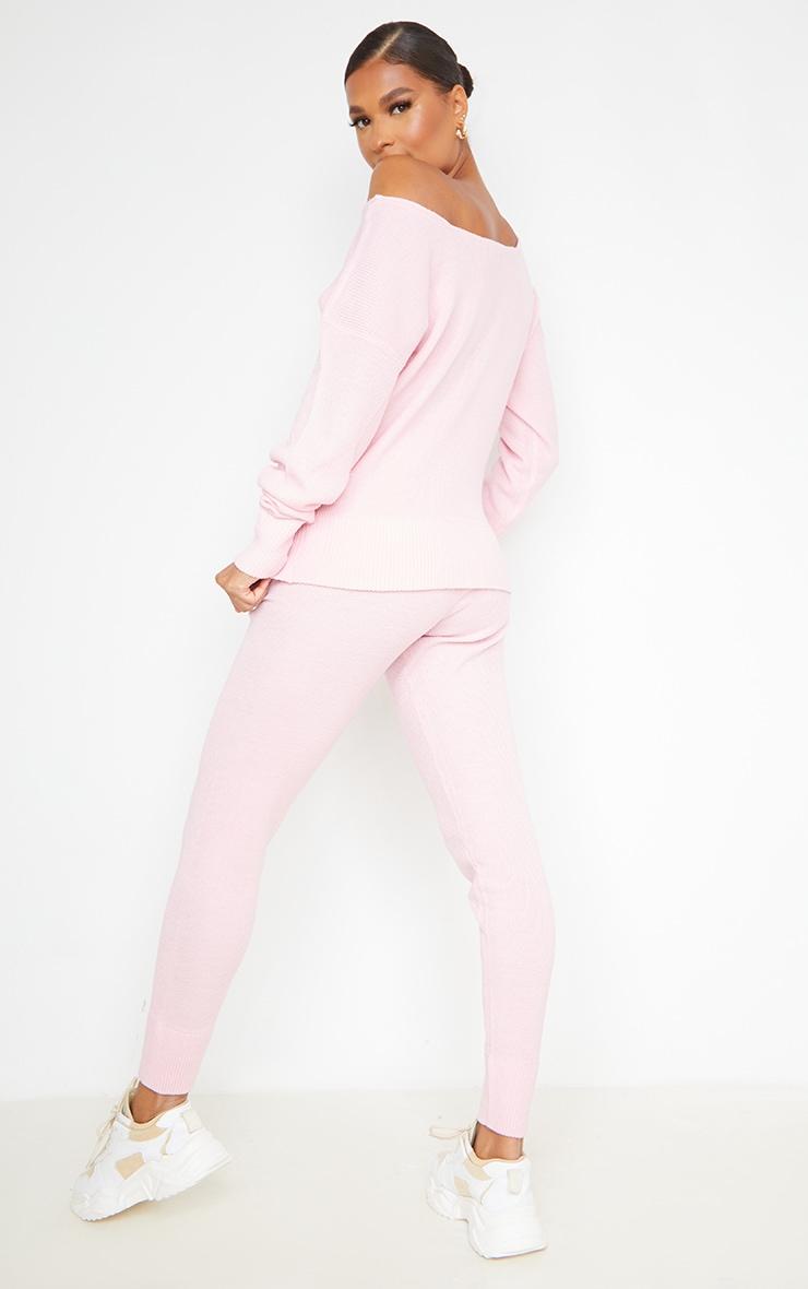 Auriel Pink Jogger Jumper Knitted Lounge Set 2