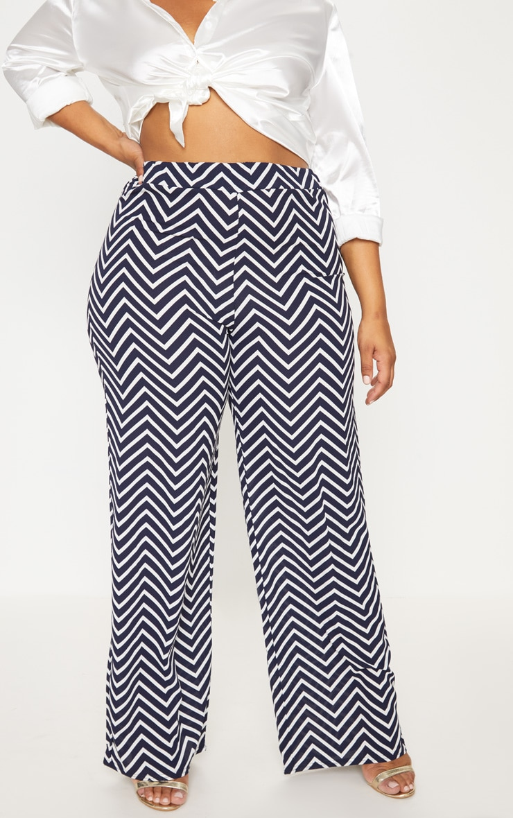 Plus Navy Chevron Wide Leg Trousers 2