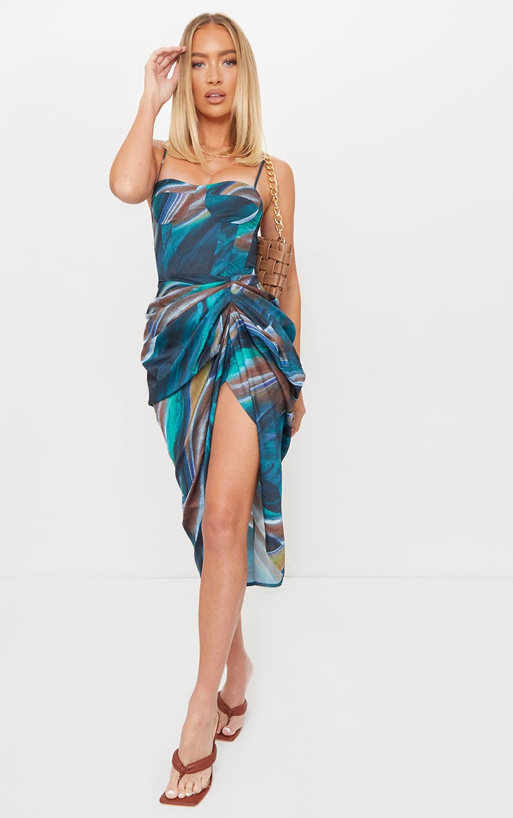Turquoise Marble Print Structured Corset Top 3