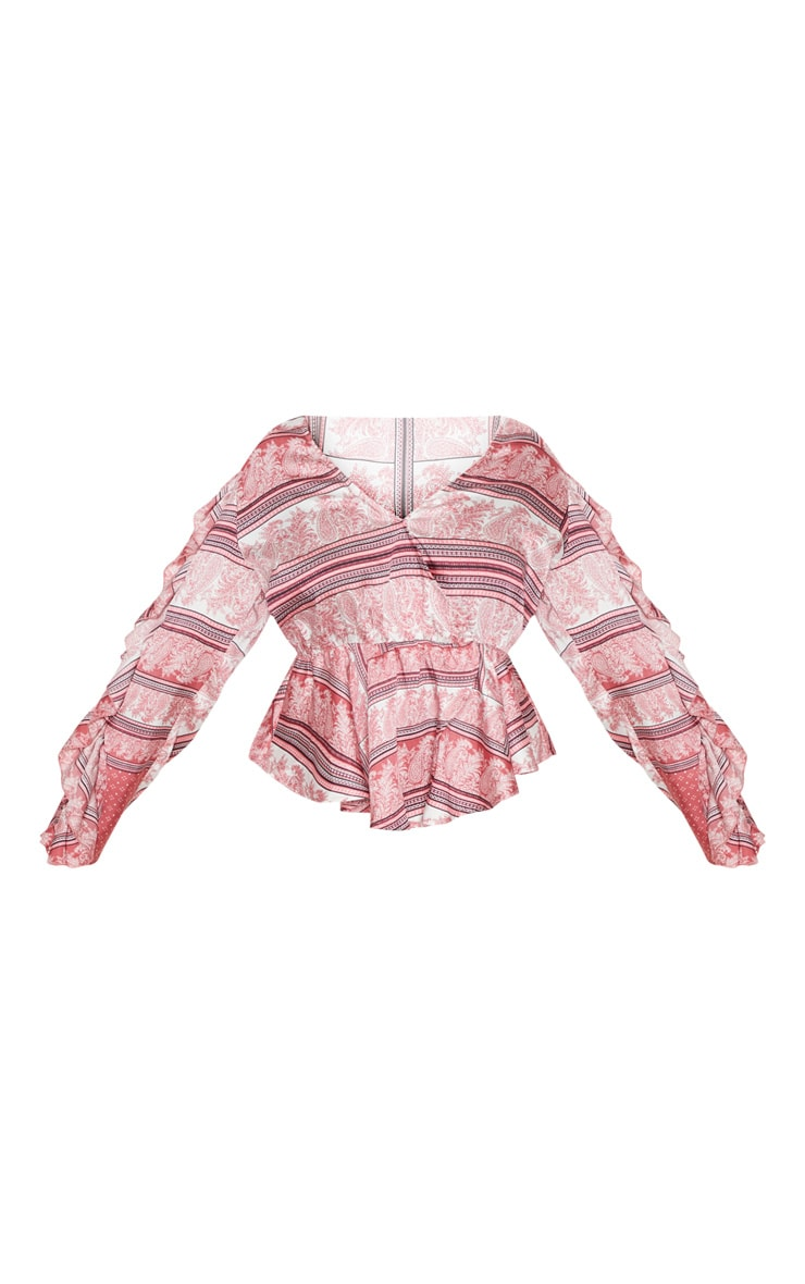 Plus Pink Paisley Print Frill Sleeve Blouse  3