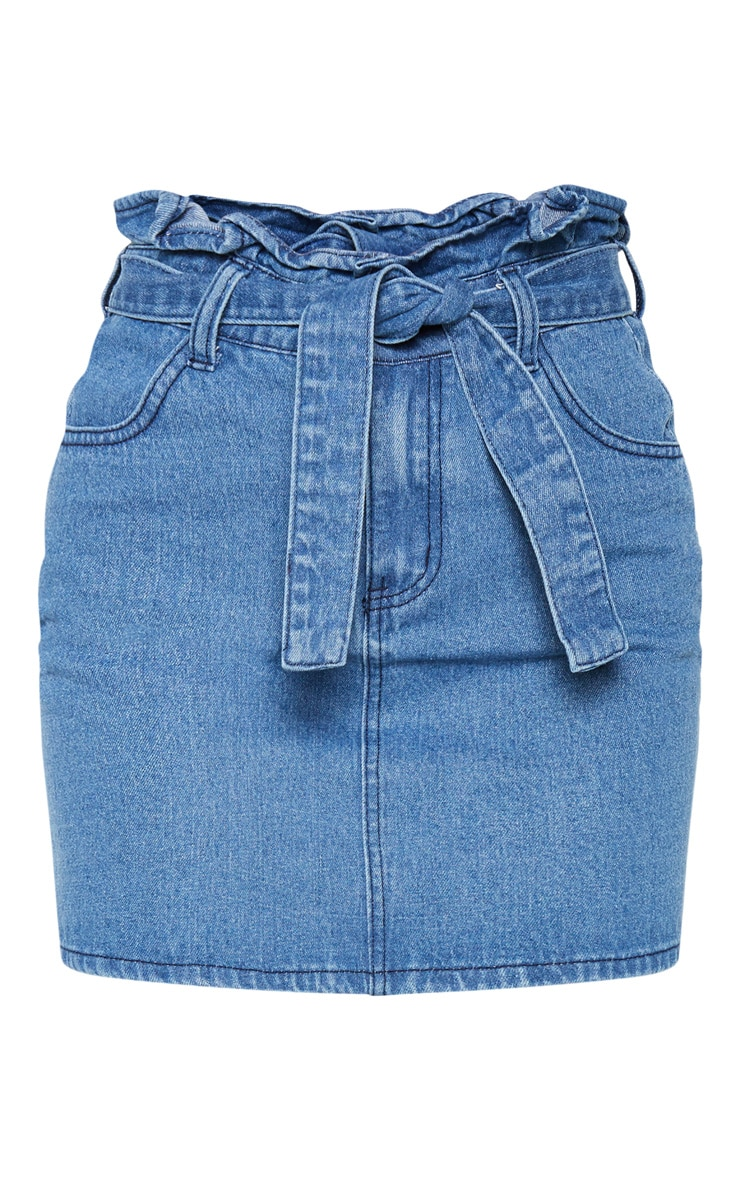 Mid Blue Wash Tie Waist Denim Skirt 3