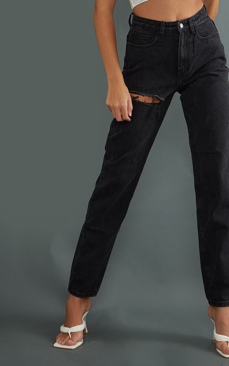 PRETTYLITTLETHING Tall Washed Black Thigh Ripped Mom Jeans 4