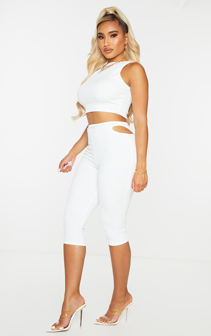 Shape White Textured Rib Cut Out Side Cropped Leggings 1
