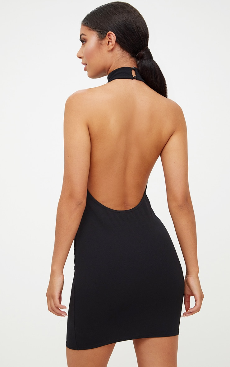 Black High Neck Low Back Bodycon Dress 2