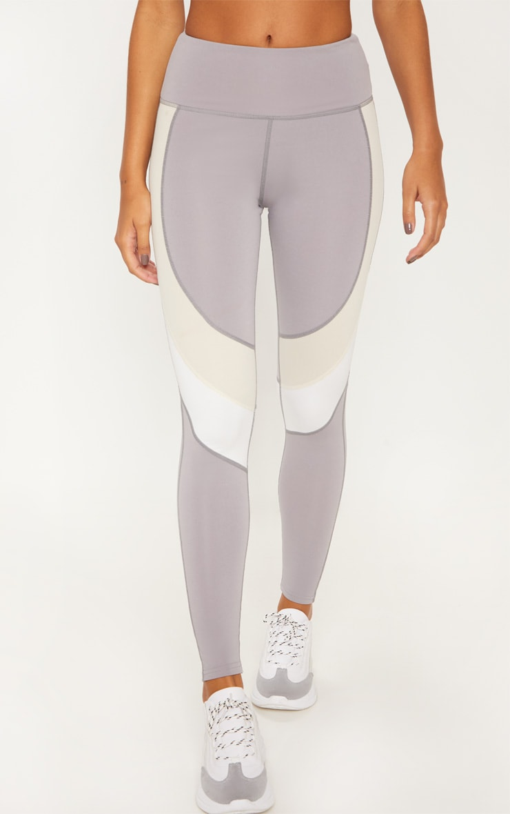 Grey Nude and White Panel Gym Legging 2