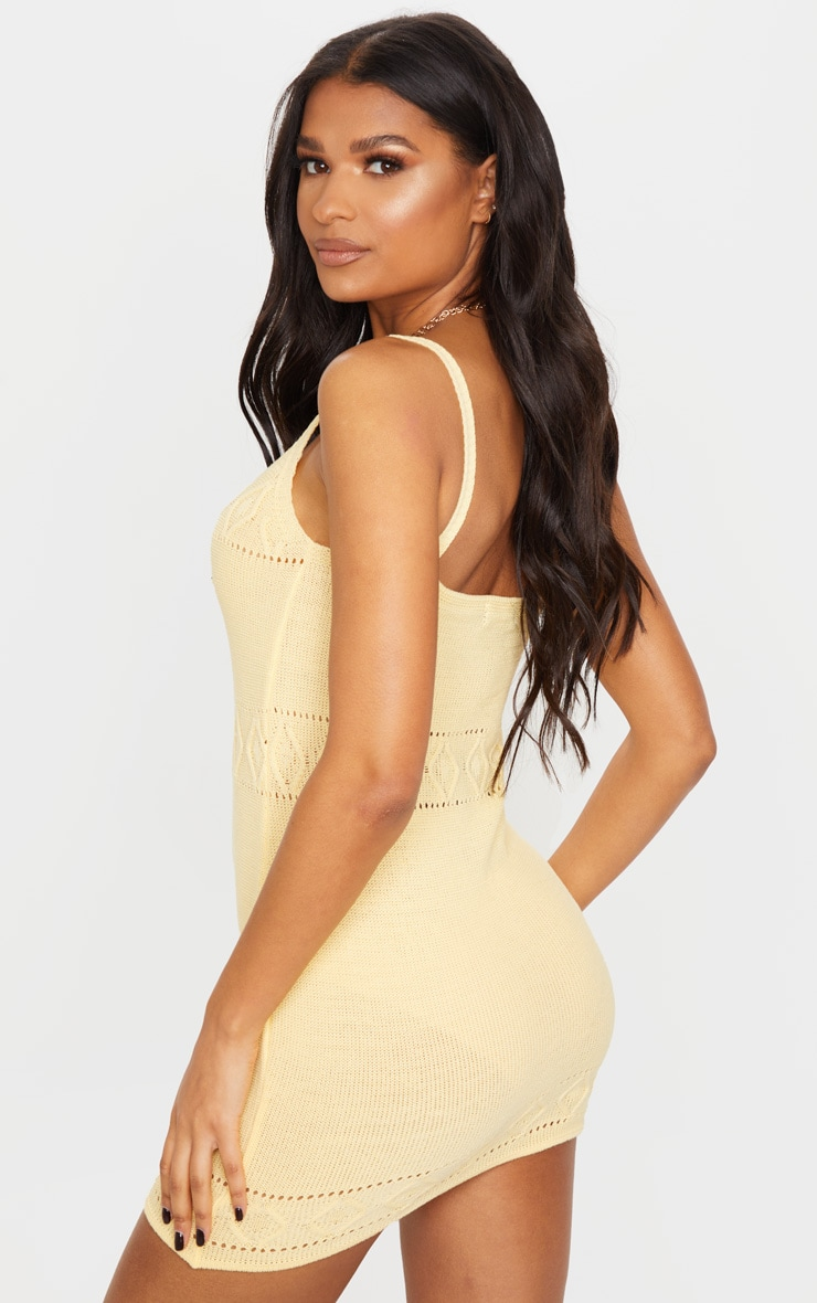 Yellow Textured Knitted Strappy Mini Dress 2