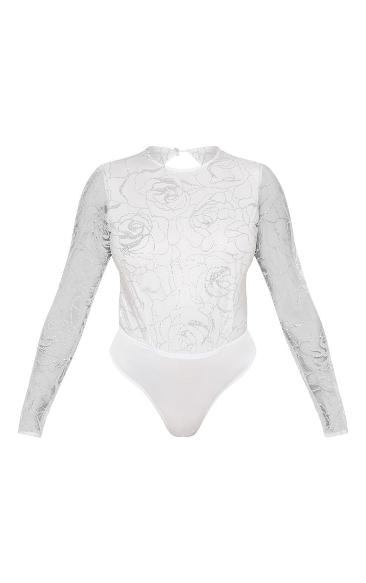 White Backless Long Sleeve Glitter Bodysuit 3