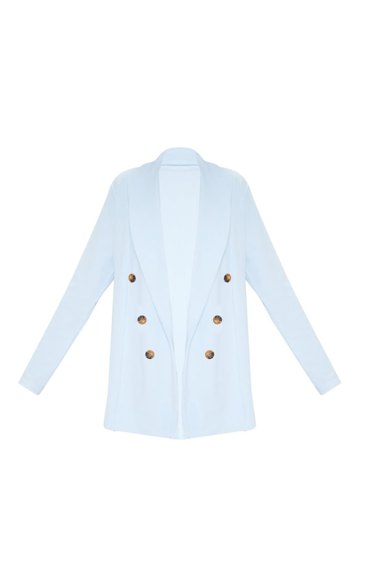 Baby Blue Oversized Button Detail Blazer  3