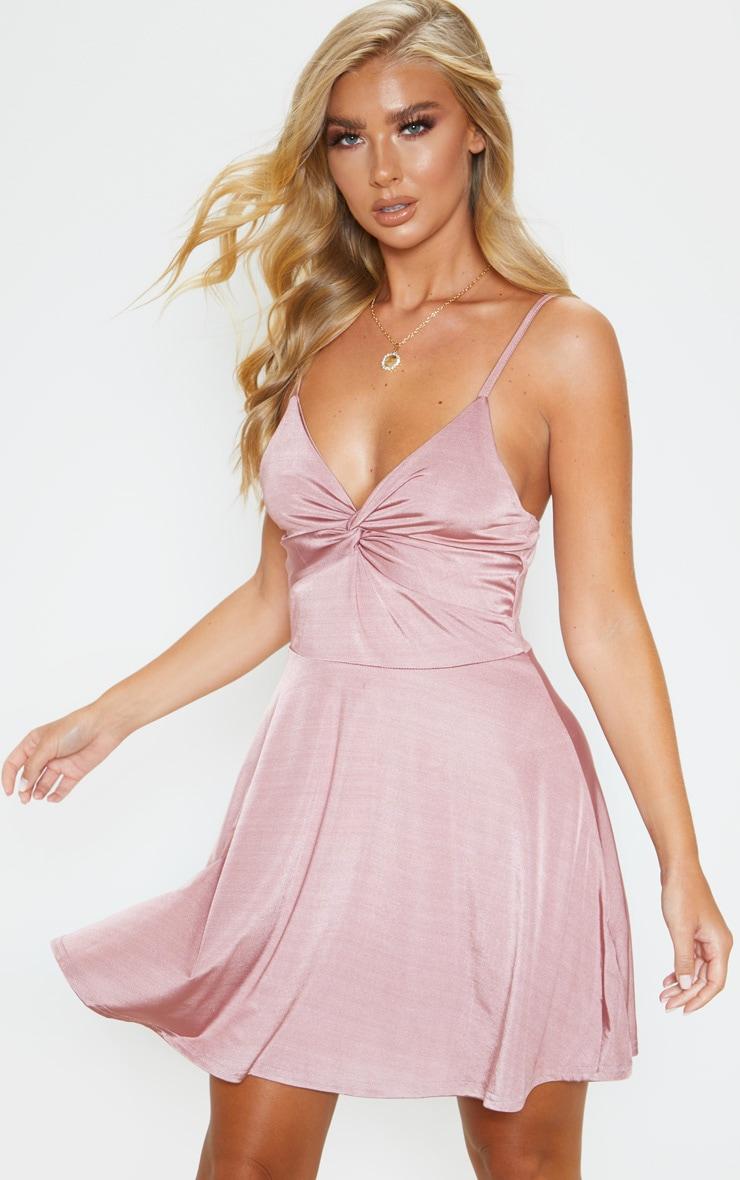 Rose Metallic Slinky Knot Detail Swing Dress 1