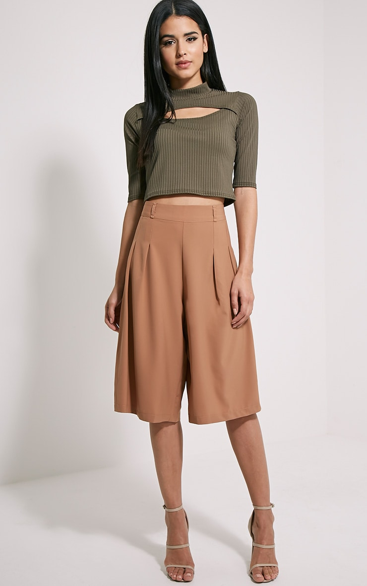 Claire Khaki Ribbed Cut Out Crop Top 4
