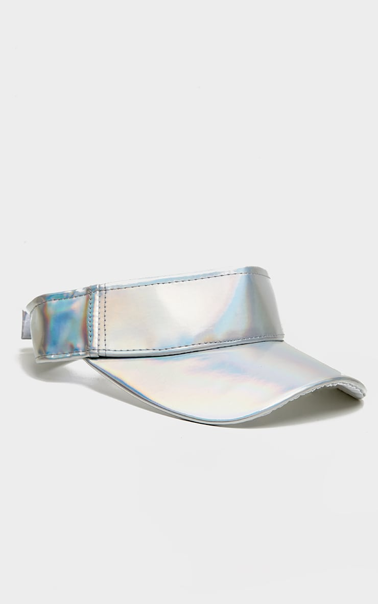 Silver Iridescent PU Visor Hat 2