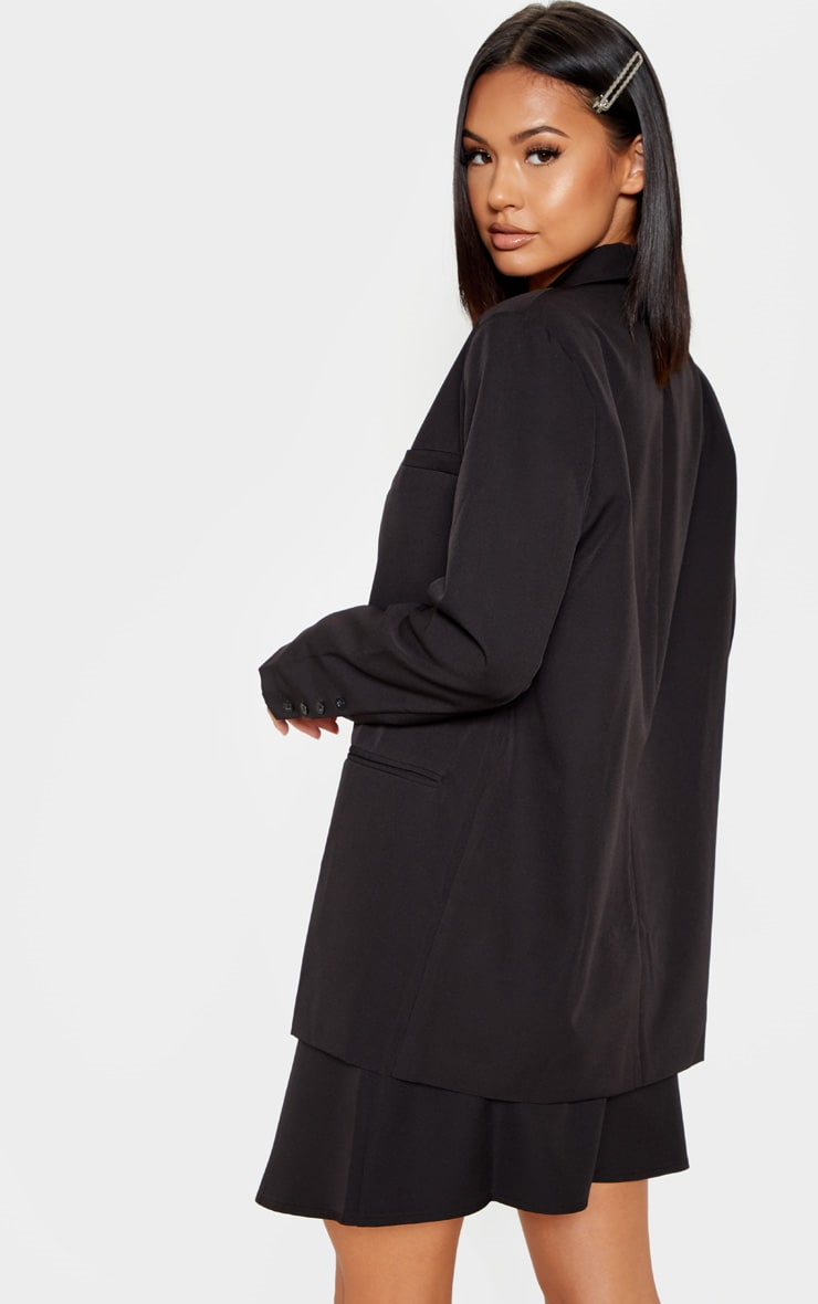 Black Oversized Dad Woven Blazer    2