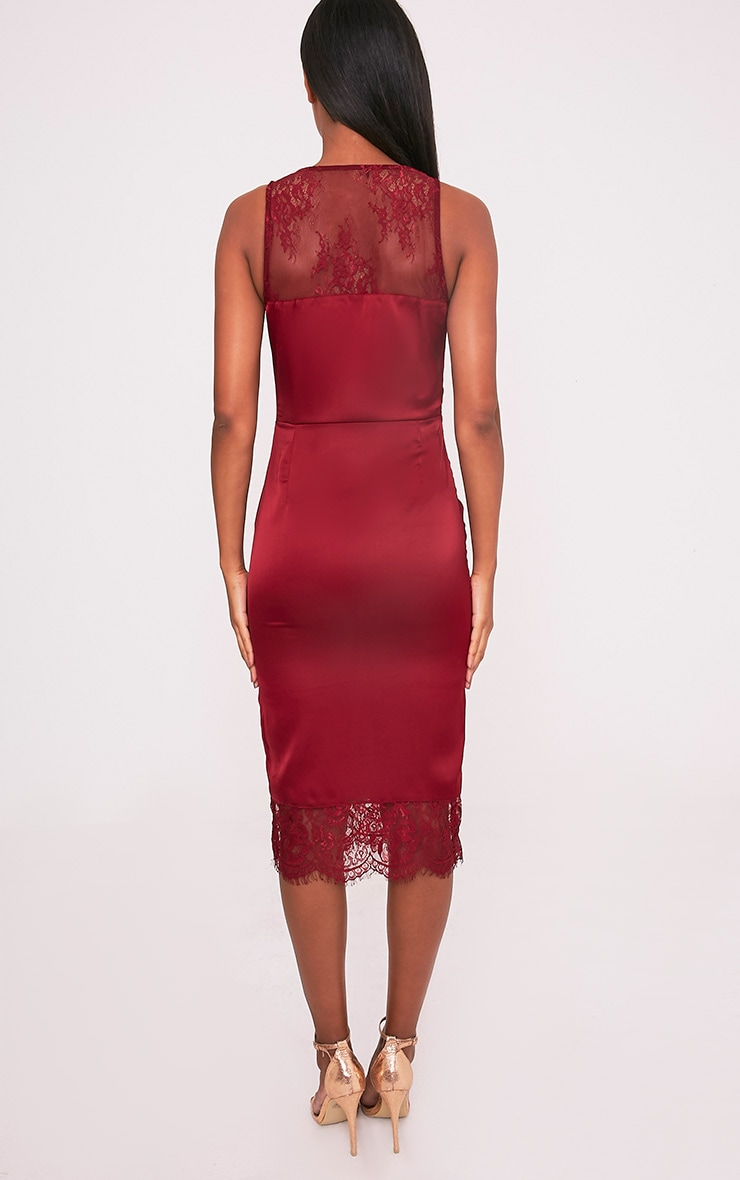 Caysie Burgundy Sheer Lace Satin Midi Dress 2