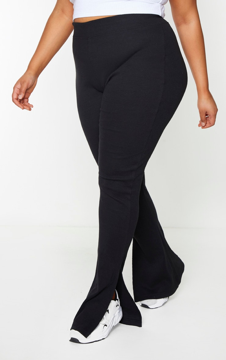 Plus Black High Waisted Textured Rib Split Hem Pants 2