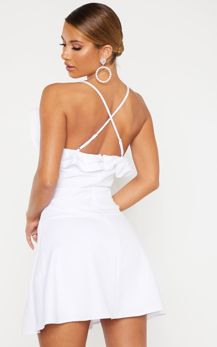 White Ruffle Detail Skater Dress 2