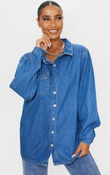 Mid Blue Wash Popper Denim Shirt 1