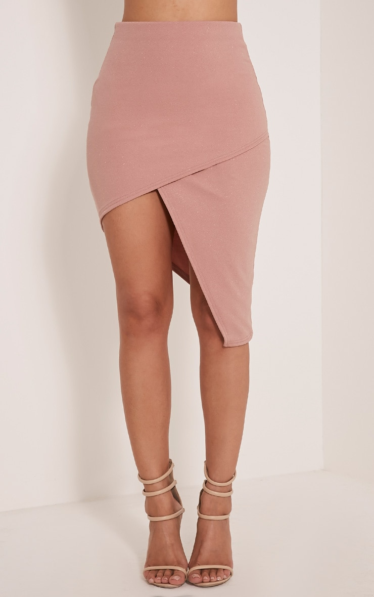 Chloe Dusty Pink Asymmetric Wrap Midi Skirt 2