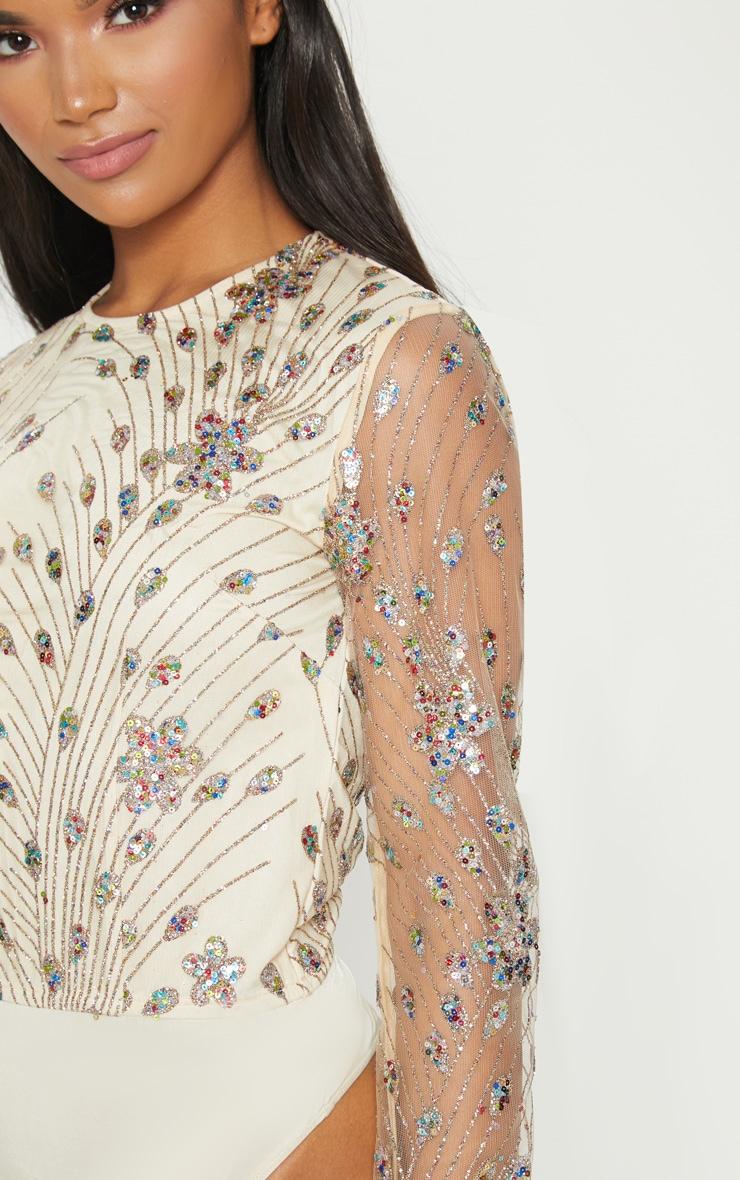 Nude Glitter Embroidered Mesh Long Sleeve Bodysuit 5