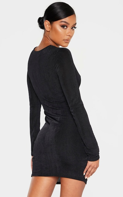Black Textured Slinky Long Sleeve Knot Detail Bodycon Dress