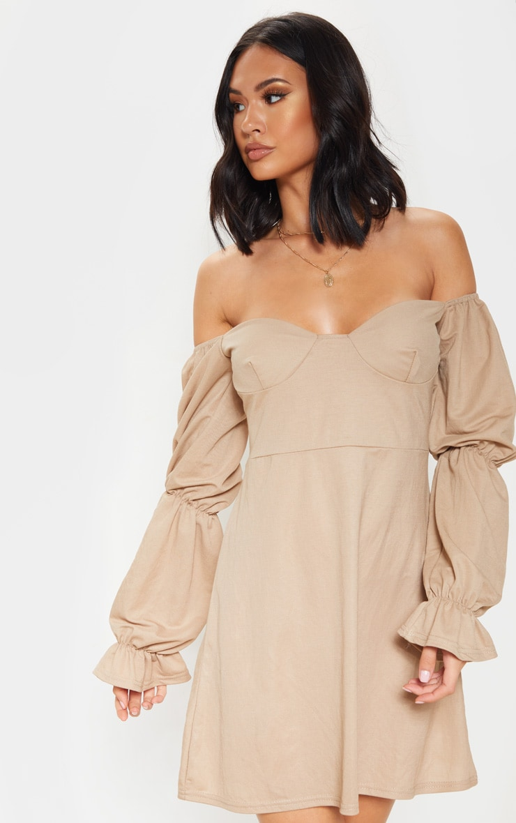 Stone Cup Detail Tiered Sleeve Shift Dress 1