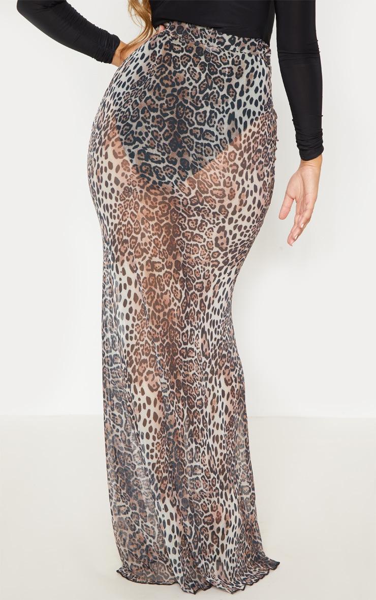 Leopard Print Mesh Maxi Skirt 5